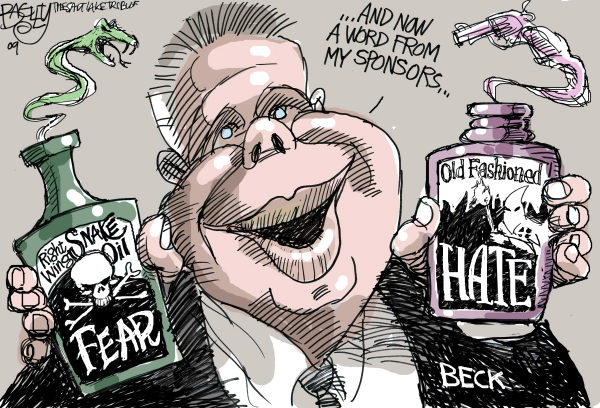 Glenn Beck Fox News Pat Bagley Snake Oil Cartoon)