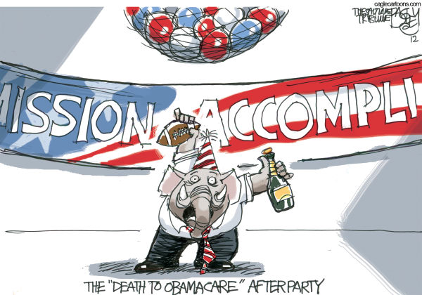 Obamacare Surprise Party  Pat Bagley,Salt Lake Tribune,GOP, Obamacare, ACA, Affordable Care Act, Republicans, Repeal and Replace, Mission Accomplished, healthcare tax, government, Roberts, Supreme Court, Constitutional, Legal, Mandate