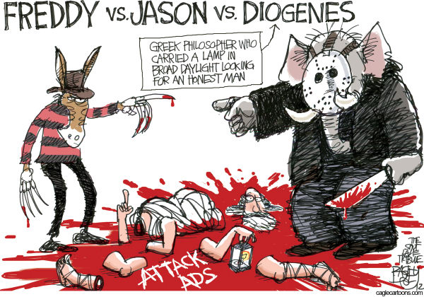 Attack Ads © Pat Bagley,Salt Lake Tribune,Attack Ads, Presidential, Obama, Romney, Negative Ads, Advertising, Negative Advertising, Jason, Diogenes, Freddy Krueger