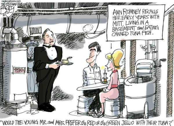 Ann and Mitt Romney  Pat Bagley,Salt Lake Tribune,Ann, Basement, Romney, Ann Romney, Mitt, Mitt Romney, Downton Abbey, Carson, Butler, Maid, Upstairs Downstairs, Early Years, Convention, RNC, Tampa