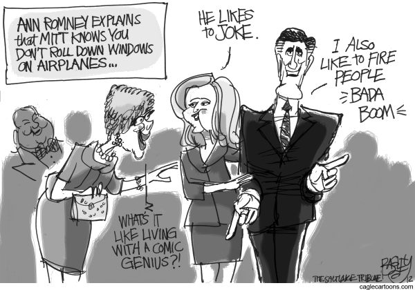 Mitt's Comic Stylings  Pat Bagley,Salt Lake Tribune,Mitt, Joke, Windows, Airplanes, Ann Romney, Humor, Jobs, Fired, Romney