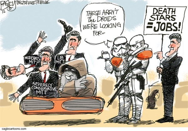 Droid Mitt Romney © Pat Bagley,Salt Lake Tribune,Mitt, Romney, Star Wars, Moderate, Liberal, Flip Flop, Moderate, Conservative, Tea party, Death Star, Far Right, 2012
