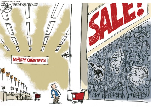 Christmas Comes Early  Pat Bagley,Salt Lake Tribune,Thanksgiving,Retail,Black Friday,Black Thursday,Early Opening,Holidays,black friday 2012, Christmas