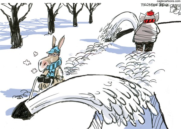 Snow Job  Pat Bagley,Salt Lake Tribune,Snow blower,Storm,Republicans,Bipartisan,Democratic,Democrats,Fiscal Cliff,Government,Spending,Negotiations,Taxes,Debt, winter 2012,GOP