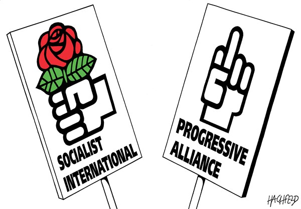 SI and PA logos © Rainer Hachfeld,Neues Deutschland, Germany,Socialist International logo, Progressive Alliance cartoon logo