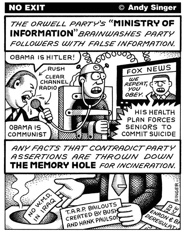Andy Singer - Politicalcartoons.com - Orwell Party Ministry of Information - English - healthcare,health,care,insurance,insurer,insurers,reform,debate,president,Barack,Obama,Rush,Limbaugh,limbaugh,obama,Fox,fox,news,Republicans,republican,pundit,pundits,Michael,Savage,memory,hole,ministry,information,George,Orwell,orwell,party,lies