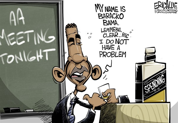 Spending problem © Eric Allie,Caglecartoons.com,spending,barack obama,debt ceiling,tax,spend,democrats,obama debt