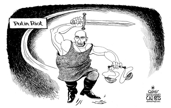 Putin Riot  Oliver Schopf,Der Standard, Austria,putin,riot,sword,violence