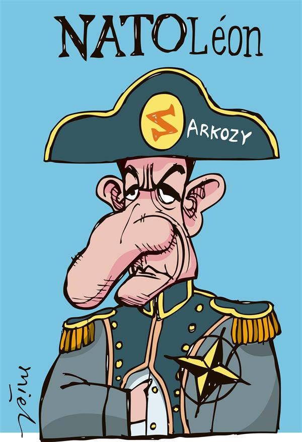 Sarkozy and NATO, cartoon