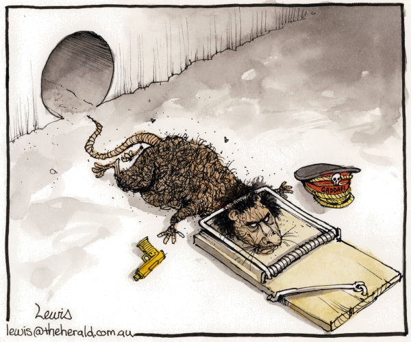 Peter Lewis - Australia, Politicalcartoons.com - Death of the desert rat - English - gaddafi, quaddafi, tripoli, libya