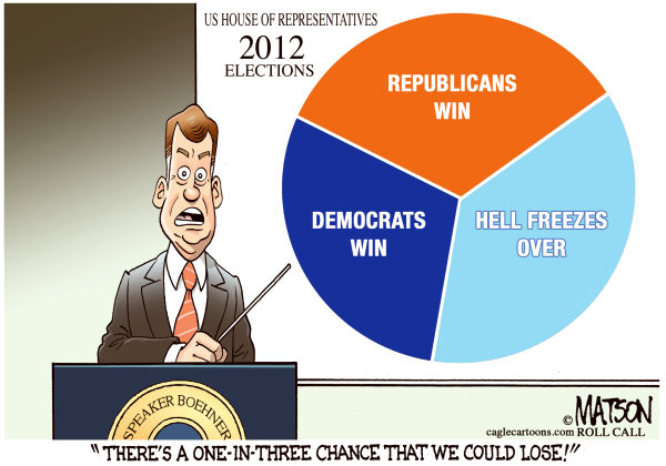 RJ Matson - Roll Call - Boehner Warns Republicans May Lose House in 2012-COLOR - English - Boehner Warns Republicans May Lose House in 2012, Speaker Boehner, John Boehner, Speaker of the House, House of Representatives, Congress, 2012 Elections, Democrats, Republicans, Majority, Minority