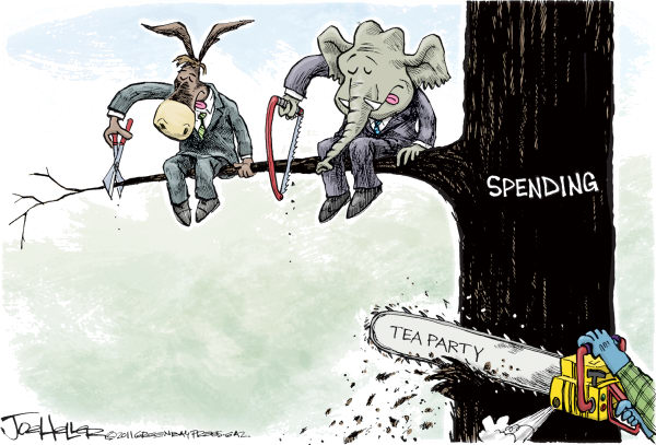 Joe Heller - Green Bay Press-Gazette - Spending Cuts - English - Spending Cuts, budget, tea party, tree, federal budget