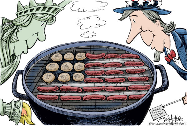 Fourth of July © Joe Heller,Green Bay Press-Gazette,Fourth of July, july 4th, independence day, statue of liberty, uncle sam, bbq, grill, burgers, hot dogs, flag
