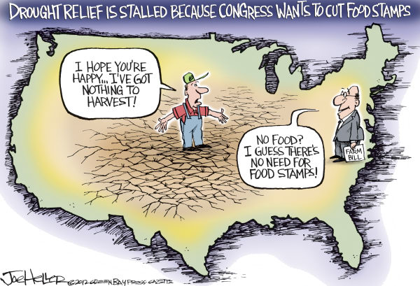 Drought Relief  Joe Heller,Green Bay Press-Gazette,Drought Relief, farm bill, food stamps