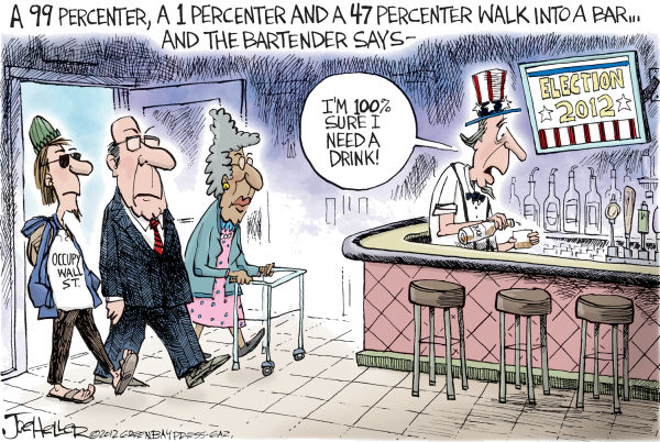 Joe Heller - Green Bay Press-Gazette - Percenters - English - Percenters, 47, 1, 99, Occupy Wall St
