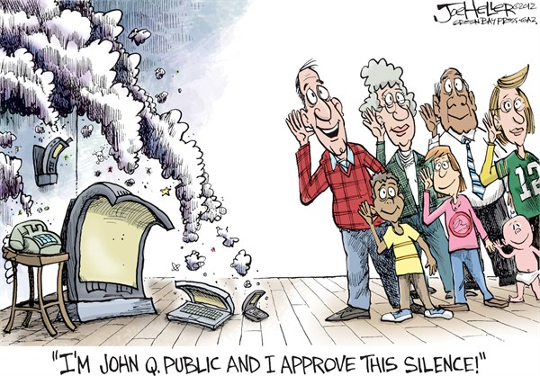 Silence © Joe Heller,Green Bay Press-Gazette,silence, end of election, campaign ads, over, robocalls, negative, i approve of this