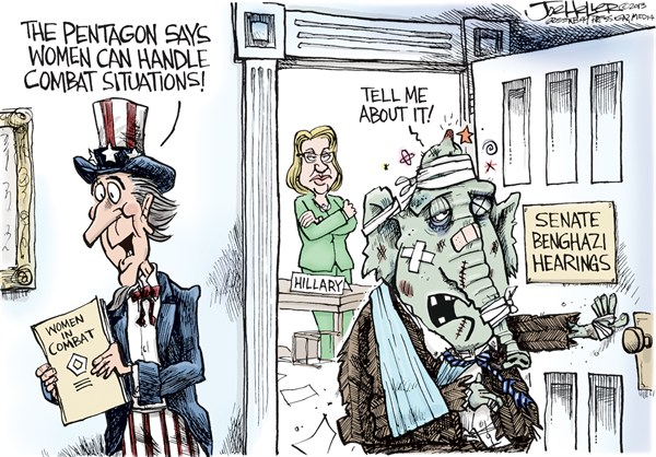 Women in Combat © Joe Heller,Green Bay Press-Gazette,senate benghazi,hillary clinton,ron johnson,pentagon,benghazi coverup, benghazi inquiry, best of hillary clinton, women in combat