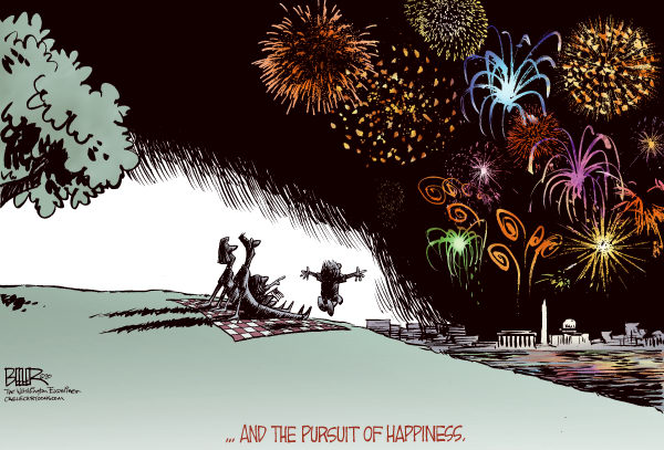 Fourth of July COLOR &copy; Nate Beeler,The Washington Examiner,fourth of july, july fourth, independence day, fireworks, pursuit, happiness, declaration of independence, holiday, 4th, family