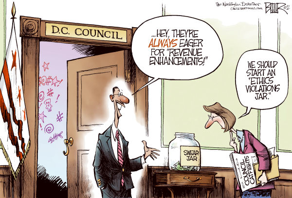 Nate Beeler - The Washington Examiner - LOCAL DC - Council Catfights COLOR - English - dc, district, district of columbia, washington, council, swear, jar, revenue, marion barry, david catania, councilman, member, enhancement, ethics, violation