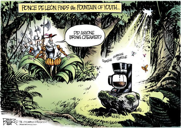 The Elixir of Life  Nate Beeler,The Columbus Dispatch,coffee, diet, health, fountain, youth, ponce de leon, life, longer, java, study