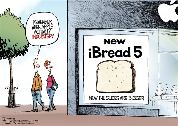 Nate Beeler - The Columbus Dispatch - New iPhone COLOR - English - iphone 5, iphone, apple, computer, cellphone, smartphone, innovate, innovative, innovation, technology, ibread, sliced, bread, store, phone, business
