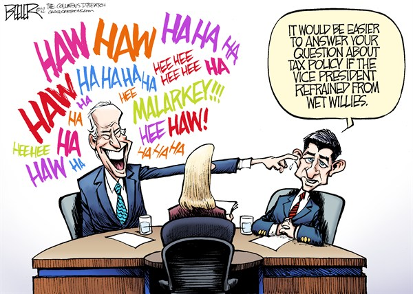 Nate Beeler - The Columbus Dispatch - Biden vs Ryan COLOR - English - joe biden, paul ryan, vp, debate, vice president, presidential, politics, martha raddatz, moderator, interruption, wet willy, wet willies, laugh, disrespectful, campaign, 2012, election