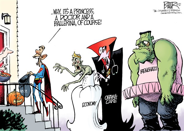 Halloween Costumes &copy; Nate Beeler,The Columbus Dispatch,barack obama,halloween,trick or treat,monster,zombie,vampire,dracula,frankenstein,economy,obamacare,health care,benghazi,terror,attack,terrorism,doctor,ballerina,princess,superman,campaign,2012,election,president,politics,best of obama, political halloween, trick or treat 2012