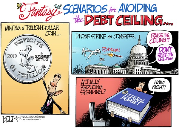 Debt Ceiling Scenarios  Nate Beeler,The Columbus Dispatch,barack obama,politics,trillion,dollar,coin,mint,drone,strike,congress,debt,ceiling,deficits,spending,federal,budget,government,president,scenarios, debt ceiling,obama debt