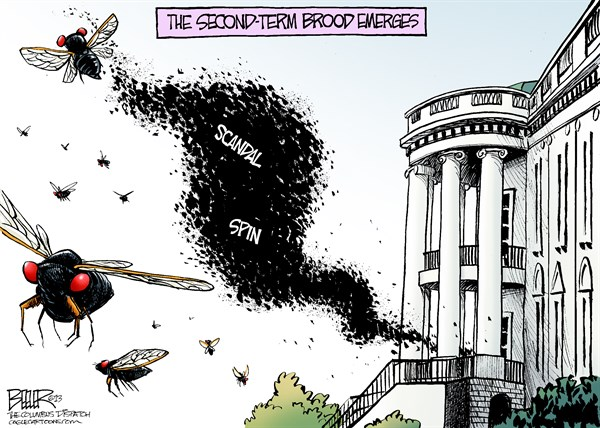 Second Term Brood  Nate Beeler,The Columbus Dispatch,cicada, barack obama, brood, second, term, scandal, spin, benghazi, irs, ap, associated press, justice, department, white house, politics, insect
