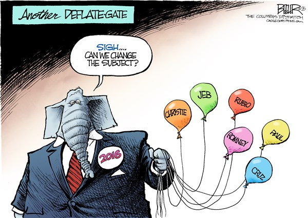 GOP Deflate Gate © Nate Beeler,The Columbus Dispatch,deflate, deflategate, patriots, nfl, football, gop, republican, 2016, candidate, presidential, election, chris christie, jeb bush, marco rubio, mitt romney, rand paul, ted cruz, politics, balloons