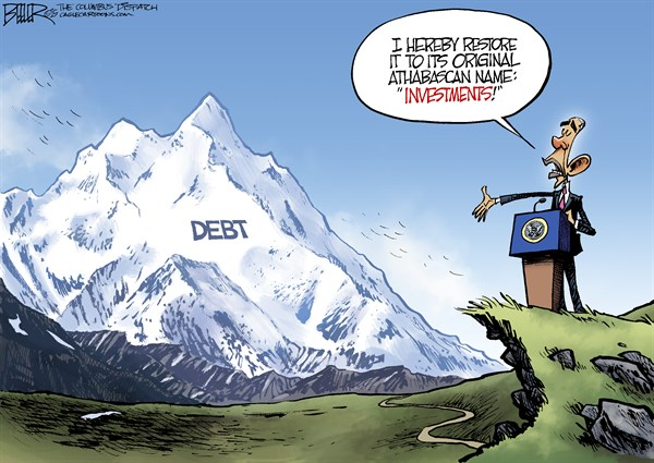 Debt nali © Nate Beeler,The Columbus Dispatch,denali, barack obama, debt, spending, investments, mountain, alaska, mount mckinley, president, politics, government, federal, deficit