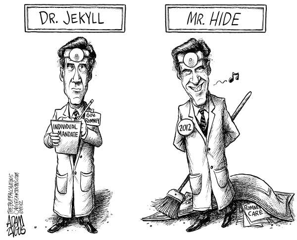 Romney's Individual Mandate © Adam Zyglis,The Buffalo News,mitt, romney, individual mandate, health care, flip flop, governor, massachusettes, reform, dr jekyll, mr hyde, hide, record, past, candidate, president, 2012, race