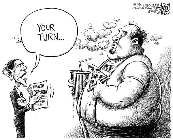 Adam Zyglis - The Buffalo News - Personal Health Reform - English - obama, president, health reform, obesity,  habits, smoking, health care, costs, insurance, preventative, diet, sugar, diabetes, disease, fat, americans, aca, obamacare, affordable care act