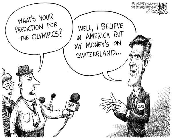 Adam Zyglis - The Buffalo News - Romney on the Olympics - English - romney, mitt, olympics, tax returns, swiss, bank accounts, off shore, money, investments, 2012, election, london, washington, politics, believe in america