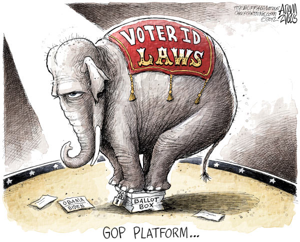 Voter ID Laws  Adam Zyglis,The Buffalo News,gop, platform, voter id laws, vote, voting rights, pennsylvania, ohio, state, ballot box, fraud, election, corruption, presidential, race, 2012