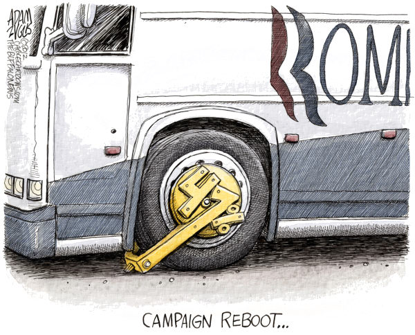 Romney Campaign Reboot  Adam Zyglis,The Buffalo News,romney, mitt, reboot, 47 percent, taxes, gaffe, video, dinner, bus, fundraiser, campaign, reboot, election, president, race, gop, republican, candidate