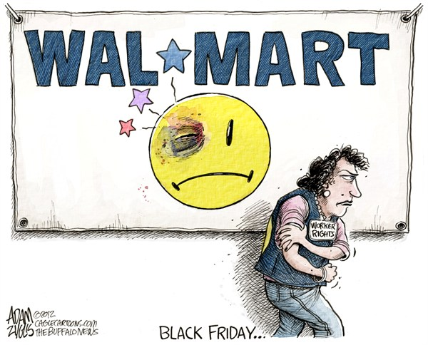 Walmart Black Friday  Adam Zyglis,The Buffalo News,walmart,black friday,thanksgiving,shopping,holiday,retail,retailer,workers,rights,strike,wages,unions,labor,business,black friday 2012, Christmas