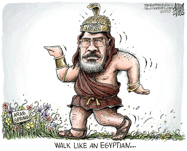 Egypt President Morsi  Adam Zyglis,The Buffalo News,egypt,president,morsi,constitution,arab spring,walk,like,egyptian,middle east,democracy,freedom,Pharoh Mohamed Morsi