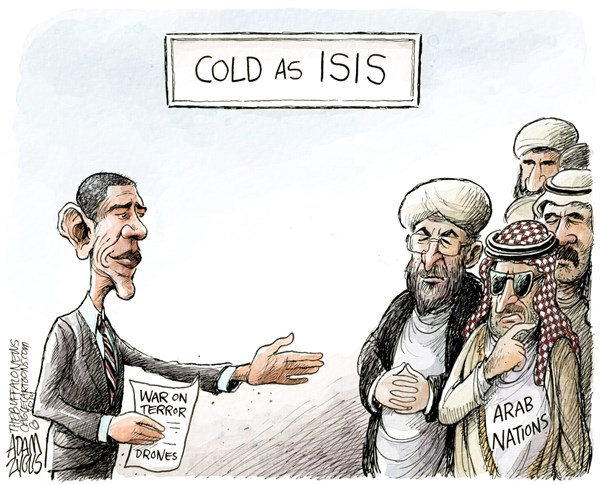Arab Support © Adam Zyglis,The Buffalo News,arab, nations, league, support, obama, president, coalition, isis, isil, islamic state, war on terror, drones, middle east, iraq, syria, terrorism, bombing, war