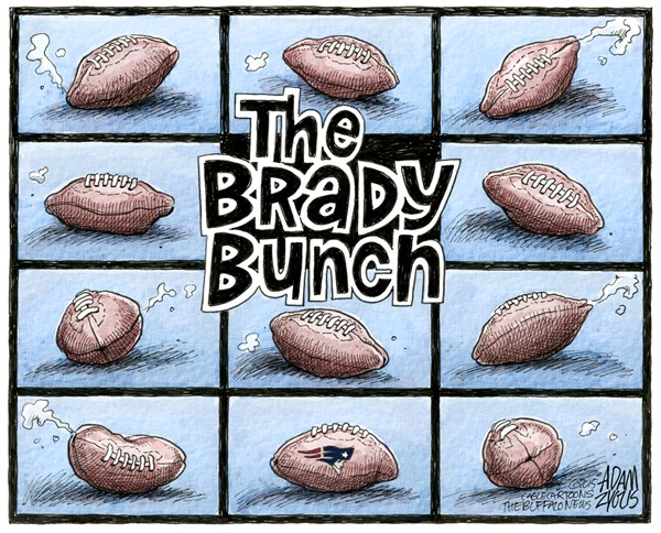 Deflated © Adam Zyglis,The Buffalo News,deflated, deflategate, new england, patriots, football, nfl, sports, league, air pressure, cheating, tom brady, bill belichick