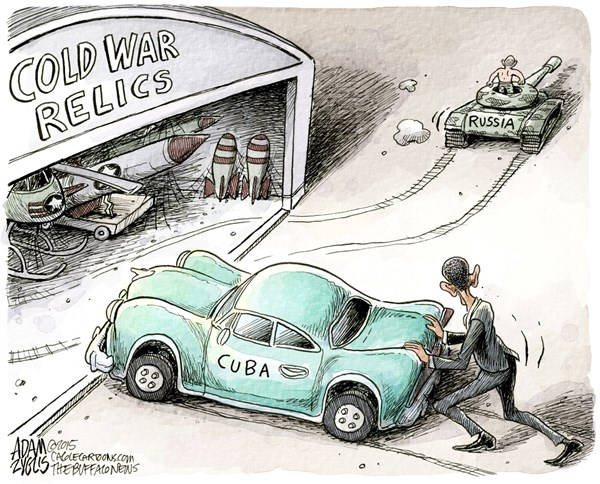 Cold War Relics © Adam Zyglis,The Buffalo News,cold war, relics, policy, cuba, obama, embargo, ban, us, russia, aggression, war, diplomacy, ukraine, europe, ussr, putin
