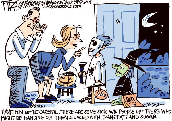 halloween safety &copy; David Fitzsimmons,The Arizona Star,halloween, obesity, diet, health