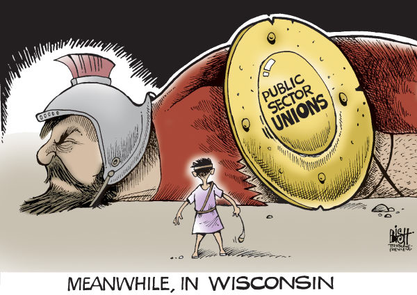 FALL OF THE WISCONSIN UNION, COLOR &copy; Randy Bish,Pittsburgh Tribune-Review,WISCONSIN, GOVERNOR, WALKER, UNION, PROTEST, REPUBLICAN, DEMOCRAT