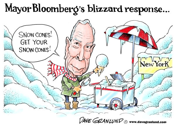 Dave Granlund - Politicalcartoons.com - Bloomberg and blizzard response - English - Bloomber, Mayor Bloomberg, Blizzard, New York City, NY, plowing, blunders, snow, streets, sanitaion dept, slow response, delay, rescue, responders, fire dept, transportation
