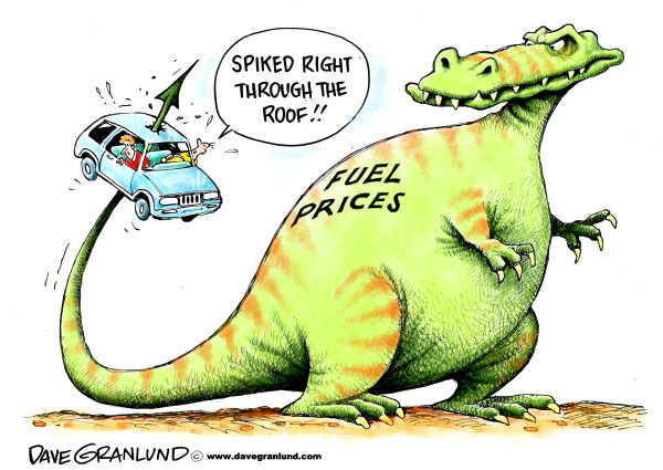 Dave Granlund - Politicalcartoons.com - Fuel price spike - English - Keywords Gas,gasoline,fuel,petrol,deisel,transportation,commuters,economy,drivers,autos,trucks,refinery,oil,rise in prices,gas price,gas hike,gas costs,pumps,fill-up,gas tank,gasoline production,energy,workers,jobs,commuting