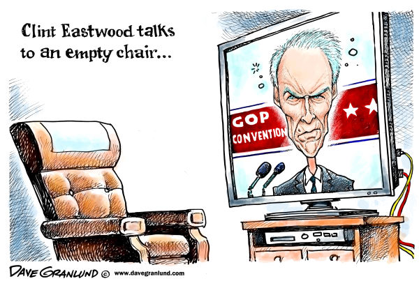 Eastwood&amp; GOP convention  Dave Granlund,Politicalcartoons.com,		 empty chair,speech,Clint Eastwood,GOP convention,Tampa convention,talks to empty chair,hollywood,dirty harry,good bad ugly,fist full of dollars,make my day,do you feel lucky,republicans,2012,Romney,voters,viewers