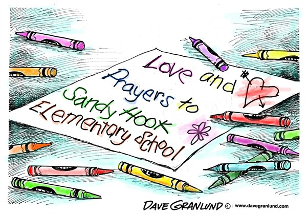 CT elementary school shootings © Dave Granlund,Politicalcartoons.com,				Connecticut,Sandy Hook elementary,murders,students,children,violence,horror,youth,guns,killings,newtown,weapons,massacre,connecticut shooting, school violence