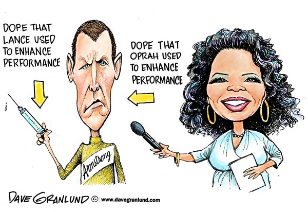 Lance Armstrong and Oprah © Dave Granlund,Politicalcartoons.com,Confession,confesses,confess,doping,dope,performance enhancing,drugs,tour de france,lance,lies,untruthful,injections,pills,liar,cheater,cheating,,armstrong admission, steroids