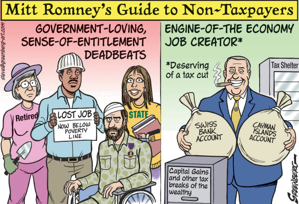 Romney Guide to Non Taxpayers  Steve Greenberg,VCReporter, Ventura. CA,Mitt Romney,taxes,taxpayers,deadbeats,entitlements,tax shelters,tax cuts,government,47 percent