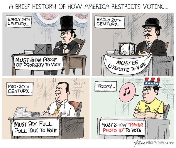 Voter ID  Rob Tornoe,PoliticalCartoons.com,Voter ID,poll tax,voter fraud,election,id,Republican